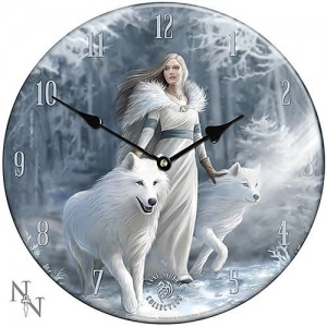 Nemesis Now Anne Stokes Winter Guardians Glass Clock
