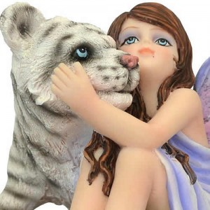Nemesis Now 'Cuddly Companion' fairy and white tiger figurine