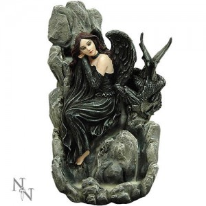 Nemesis Now Fairy Flow Incense Tower Dark Fairy & Dragon Figurine