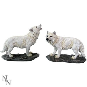 Nemesis Now The Watchers (set of 2) Wolf Figurines