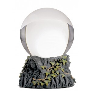 Crystal Ball With Maiden Mother Crone Stand